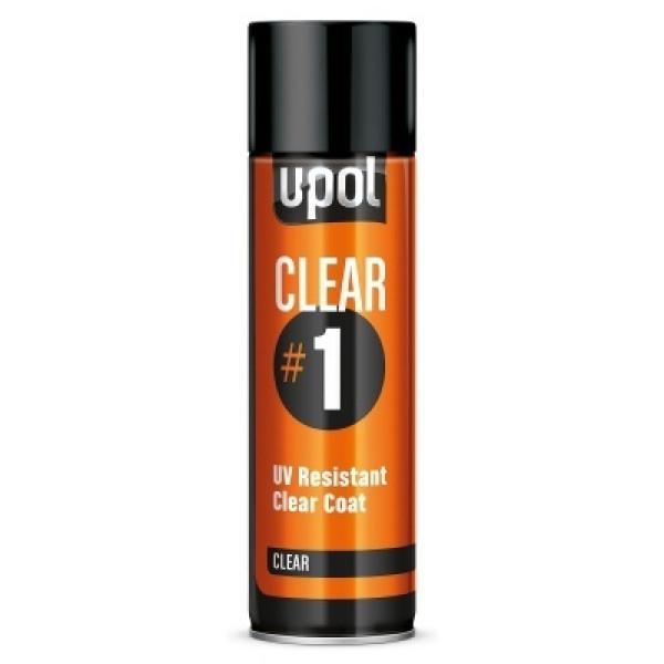 Лак UV CLEAR#1 устойчивый с высоким глянцем,аэрозоль 450мл.,прозрачный,U-pol, шт.
